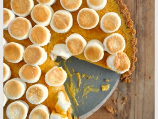 Maple pumpkin pie with gingernut crust and marshmallow topping
